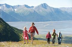 Group of people hiking, Mighty Might Trail, Alyeska Resort, Turnagain Arm, Mt. - stock photo
