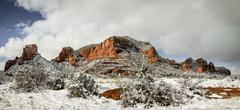 Red Rocks under snow - stock photo