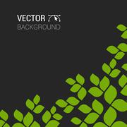 Branch with fresh green leaves  plant background vector tree forest eco Stock Illustration