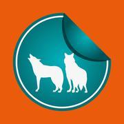 Animal design. wolf icon. Silhouette illustration , vector Stock Illustration