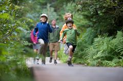 Family exploring woods, Winner Creek, Alyeska Resort, Turnagain Arm, Mt. Stock Photos