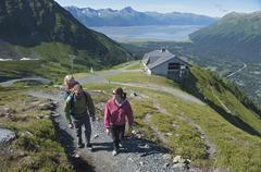 Tourists on pathway, Mighty Might Trail, Alyeska Resort, Turnagain Arm, Mt. - stock photo