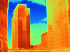 Thermal photograph of skyscrapers at Canary Wharf, London, UK Stock Photos
