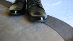 Male dress shoes, elegance wedding groom boots Stock Footage