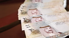Arab Money Bahrain. Taking from a table Stock Footage
