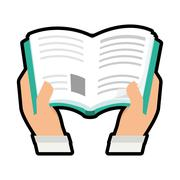Book and hand. Reading concept. Vector graphic Stock Illustration