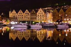 Famous Bryggen street in Bergen - Norway - stock photo