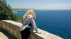 Cute caucasian woman , european romantic female tourist resting sea, ocean Stock Footage
