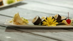 Sushi plate and sauce bowl. Stock Footage
