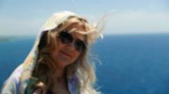 Cute woman in sunglasses, european romantic lady,  female tourist, defocus Stock Footage