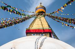 Prayer Flags at Boudhanath stupa in Kathmandu, Nepal - stock photo