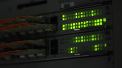 View of lights blinking on network server Stock Footage