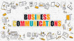 Business Communications Concept with Doodle Design Icons Stock Illustration