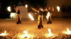 Night fire show in celebration, feast holiday, gala - stock footage