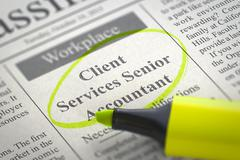 Job Opening Client Services Senior Accountant - stock illustration