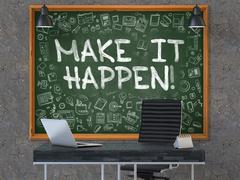 Make it Happen Concept. Doodle Icons on Chalkboard Stock Illustration