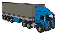 Towing truck with a cover semitrailer Stock Illustration