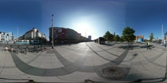 360Vr Video People on Wroclaw City Square High Temperature Fest Bicycle Parking Stock Footage