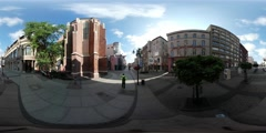 360Vr Video Man on City Square High Temperature Festival in Wroclaw Sunny Day Stock Footage