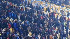 Pleased spectators leaving football stadium after match, people enjoying weekend - stock footage