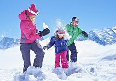 Family having snowball fight, Chamonix, France Kuvituskuvat