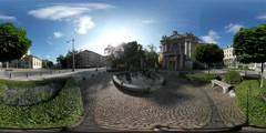360Vr Video Man on City Square in Sunny Day Paving Stones Bench Under the Maple Stock Footage