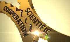 Scientific Cooperation on the Golden Metallic Cogwheels - stock illustration