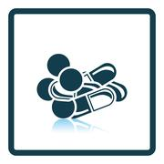Pill and tabs icon - stock illustration