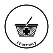 Pharmacy shopping cart icon - stock illustration