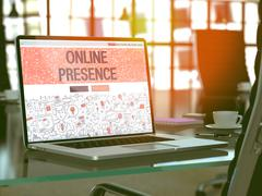 Online Presence Concept on Laptop Screen Stock Illustration