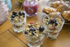 Home-made breakfast granola, close-up - stock photo