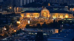 Aerial view of night city Kyiv, Kiev, Central station with car traffic Stock Footage
