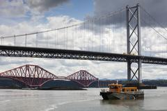 Forth Road Bridge and the Forth Rail Bridge near Queensferry, Scotland, UK Stock Photos