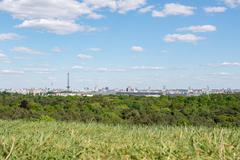 On the Teufelsberg in Berlin with views of Berlin towards the radio tower and TV Stock Photos