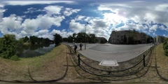 360Vr Video Backpacker Wroclaw Temperature Festival Walking by the Sidewalk Stock Footage