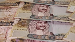 Arab Money Bahrain. Zenithal pan over money bills. Ascendent movement.  Stock Footage