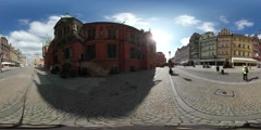 360Vr Video Man on Market Square High Temperature Festival in Wroclaw Sunny Day Stock Footage