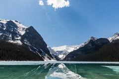 Crystal clear lake in Banff National Park Stock Photos
