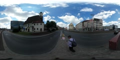360Vr Video Tourist is Waiting by the Roadside Man in Wroclaw Spherical Stock Footage