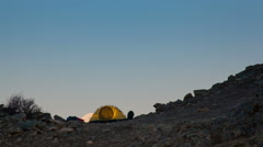 Moonrise above the tourist tent. Time-lapse. Stock Footage