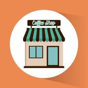 Coffee shop design - stock illustration