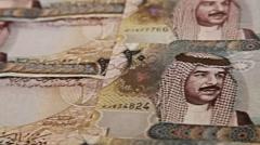 Arab Money Bahrain. Zenithal pan over money bills. Pan movement. Stock Footage