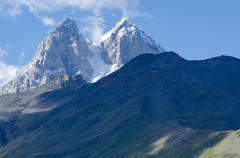 Georgia, Mestia, walk to the Koruldilakes, Looking north, Mt. Ushba, Svaneti, - stock photo