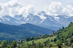 Georgia, Mestia, hike to the glacier, overlooking Mestia and Svaneti Range, - stock photo