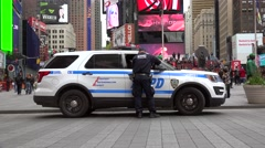 Police patrol on duty at Times Square. NYC, USA. Stock Footage