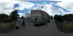 360Vr Video Backpacker on a Street Wroclaw Festival High Temperature People Stock Footage