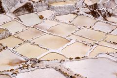 Saltpans, Peru, near Urubamba, Salinas de Maras - Salt terraces - stock photo