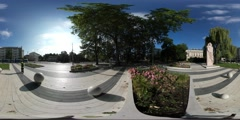 360Vr Video Tourist Walking Near Monument Wroclaw City Square High Temperature Stock Footage