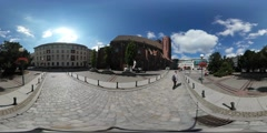 360Vr Video Tourist is Walking by the Street Man With Selfie Stick in Wroclaw Stock Footage