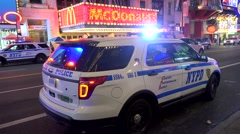 Police car with emergency lights activated. NYC, USA. Stock Footage